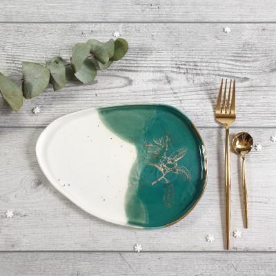 Bazar - Floare de Cires- Farfurie ovala verde inchis