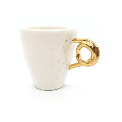 Pistrui de aur - Cescuta din portelan toarta aurie, 100ml Gold Freckles Cup 2-S