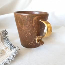 Rust - Cana din portelan finisaj rugina,cu toarta tip panglica, 200ml