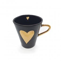 Heart- Cana din portelan negru lucios cu inima de aur 200ml