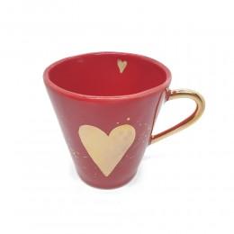 Heart- Cana din portelan rosu lucios cu inima de aur 200ml
