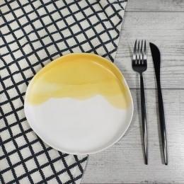 Duo Alb-Galben - Farfurie aperitiv/desert 18cm
