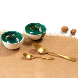 Green and Gold - Bol mic din portelan, pentru aperitiv sau sosuri, diametru 11cm Green Gold 1-B1