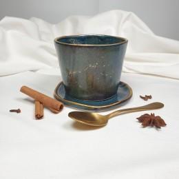 Night - Pahar din portelan albastru patinat,fara toarta, 320ml Cer de Noapte