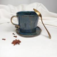 Night - Cana din portelan albastru patinat,cu toarta tip panglica, 320ml Cer de Noapte 3L