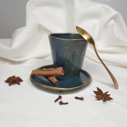 Night - Pahar din portelan albastru patinat,fara toarta, 200ml Cer de Noapte