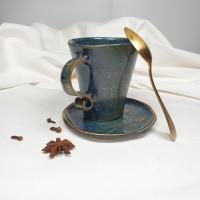 Night - Cana din portelan albastru patinat,cu toarta tip panglica, 200ml Cer de Noapte 3M