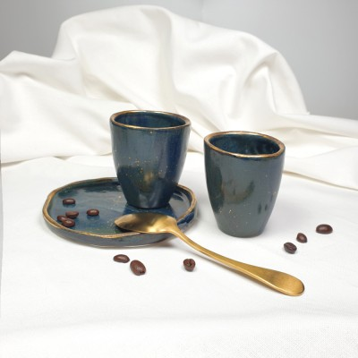 Night - Pahar din portelan albastru patinat,fara toarta, 90ml Cer de Noapte