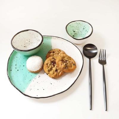 Bazar - Set farfurie si doua boluri sosiera - verde menta