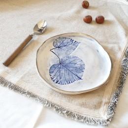 Farfurie din portelan cu frunze albastre, diametru 18cm Blue Leaf 1-S